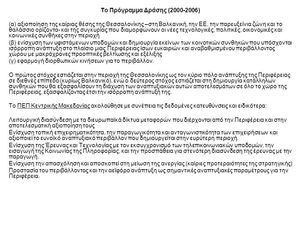 Το Πρόγραμμα Δράσης (2000-2006) (α) αξιοποίηση της καίριας θέσης της Θεσσαλονίκης –στη Βαλκανική, την ΕΕ, την παρευξείνια ζώνη και το θαλάσσιο ορίζοντα- και της συγκυρίας που διαμορφώνουν οι νέες τεχνολογικές, πολιτικές, οικονομικές και κοινωνικές συνθήκες στην περιοχή (β) ενίσχυση των υφιστάμενων υποδομών και δημιουργία εκείνων των κοινοτικών συνθηκών που υπόσχονται ισόρροπη ανάπτυξη στο πλαίσιο μιας Περιφέρειας ίσων ευκαιριών και αναβαθμισμένου περιβάλλοντος χώρου με μακρόχρονες προοπτικές βελτίωσης και εξέλιξης (γ) εφαρμογή διορθωτικών κινήσεων για το περιβάλλον.