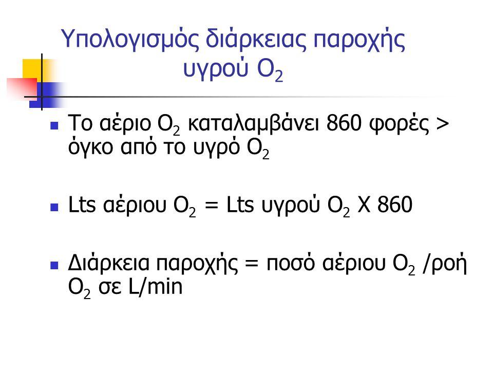 Υπολογισμός διάρκειας παροχής υγρού Ο 2 Το αέριο Ο 2 καταλαμβάνει 860 φορές > όγκο από το υγρό Ο 2 Lts αέριου Ο 2 = Lts υγρού Ο 2 Χ 860 Διάρκεια παροχής = ποσό αέριου Ο 2 /ροή Ο 2 σε L/min