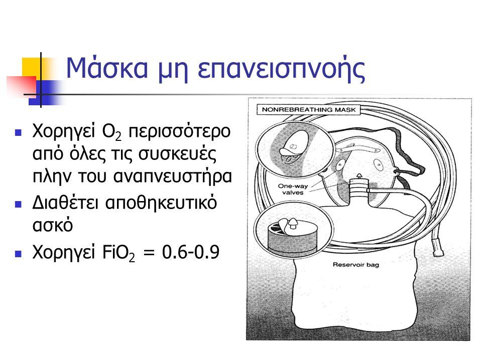 Μάσκα μη επανεισπνοής Χορηγεί Ο 2 περισσότερο από όλες τις συσκευές πλην του αναπνευστήρα Διαθέτει αποθηκευτικό ασκό Χορηγεί FiO 2 = 0.6-0.9