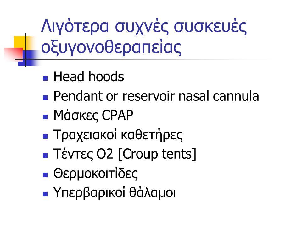 Λιγότερα συχνές συσκευές οξυγονοθεραπείας Head hoods Pendant or reservoir nasal cannula Μάσκες CPAP Τραχειακοί καθετήρες Τέντες Ο2 [Croup tents] Θερμοκοιτίδες Υπερβαρικοί θάλαμοι