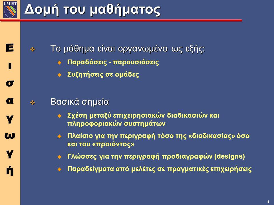 4 Δομή του μαθήματος v Το μάθημα είναι οργανωμένο ως εξής: u Παραδόσεις - παρουσιάσεις u Συζητήσεις σε ομάδες v Βασικά σημεία u Σχέση μεταξύ επιχειρησιακών διαδικασιών και πληροφοριακών συστημάτων u Πλαίσιο για την περιγραφή τόσο της «διαδικασίας» όσο και του «προιόντος» u Γλώσσες για την περιγραφή προδιαγραφών (designs) u Παραδείγματα από μελέτες σε πραγματικές επιχειρήσεις
