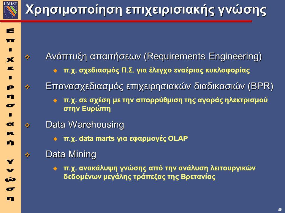 48 Χρησιμοποίηση επιχειρισιακής γνώσης v Ανάπτυξη απαιτήσεων (Requirements Engineering) u π.χ.