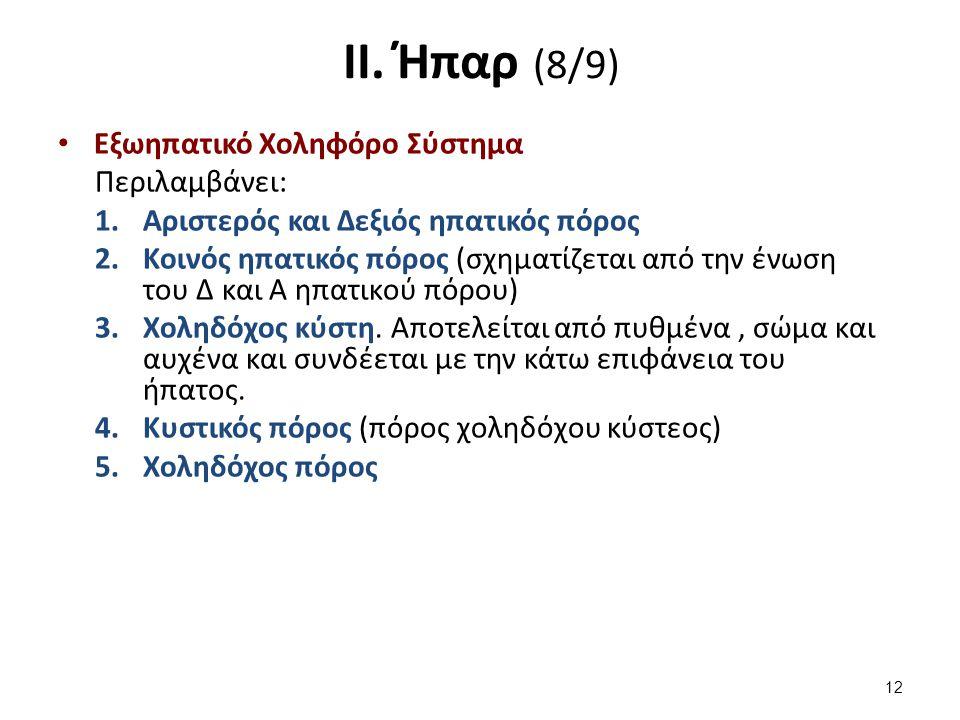 ΙΙ. Ήπαρ (8/9) Εξωηπατικό Χοληφόρο Σύστημα Περιλαμβάνει: 1.Αριστερός και Δεξιός ηπατικός πόρος 2.Κοινός ηπατικός πόρος (σχηματίζεται από την ένωση του