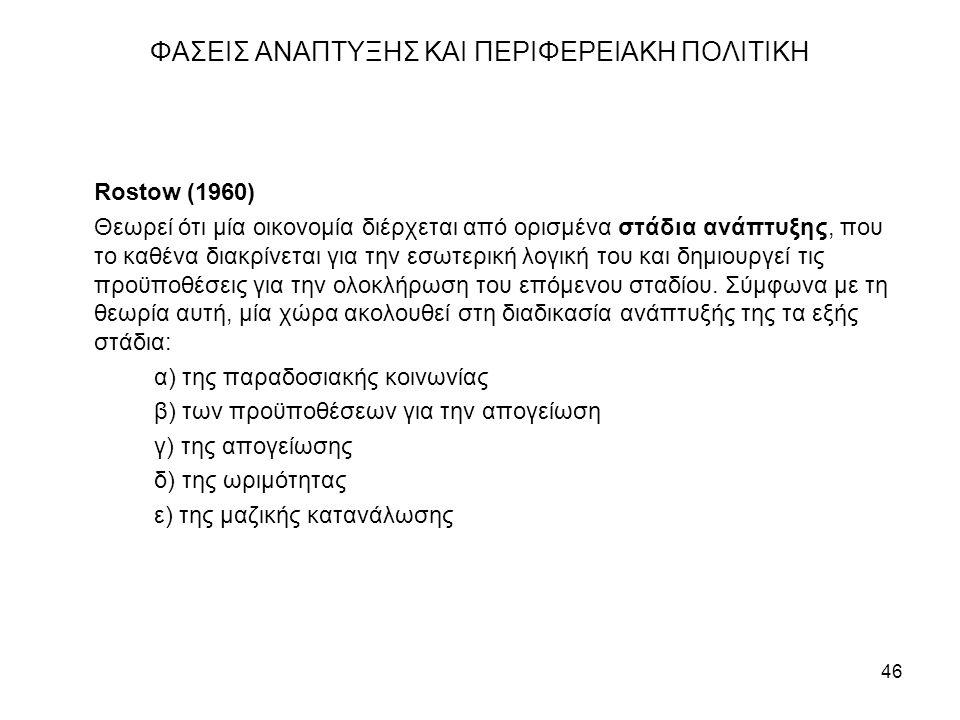 46 ΦΑΣΕΙΣ ΑΝΑΠΤΥΞΗΣ ΚΑΙ ΠΕΡΙΦΕΡΕΙΑΚΗ ΠΟΛΙΤΙΚΗ Rostow (1960) Θεωρεί ότι μία οικονομία διέρχεται από ορισμένα στάδια ανάπτυξης, που το καθένα διακρίνεται για την εσωτερική λογική του και δημιουργεί τις προϋποθέσεις για την ολοκλήρωση του επόμενου σταδίου.
