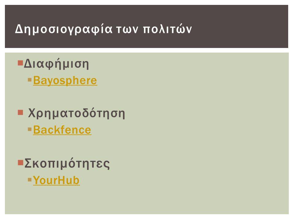  Διαφήμιση  Bayosphere Bayosphere  Χρηματοδότηση  Backfence Backfence  Σκοπιμότητες  YourHub YourHub Δημοσιογραφία των πολιτών