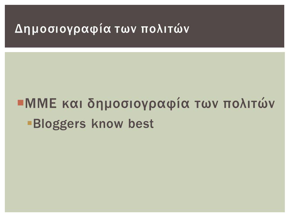  ΜΜΕ και δημοσιογραφία των πολιτών  Bloggers know best Δημοσιογραφία των πολιτών