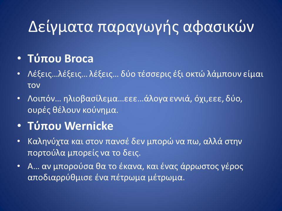 Δείγματα παραγωγής αφασικών Τύπου Broca Λέξεις…λέξεις… λέξεις… δύο τέσσερις έξι οκτώ λάμπουν είμαι τον Λοιπόν… ηλιοβασίλεμα…εεε…άλογα εννιά, όχι,εεε,