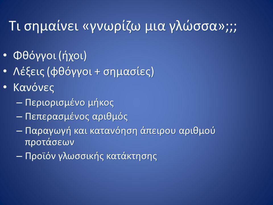 Τι σημαίνει «γνωρίζω μια γλώσσα»;;; Φθόγγοι (ήχοι) Φθόγγοι (ήχοι) Λέξεις (φθόγγοι + σημασίες) Λέξεις (φθόγγοι + σημασίες) Κανόνες Κανόνες – Περιορισμέ