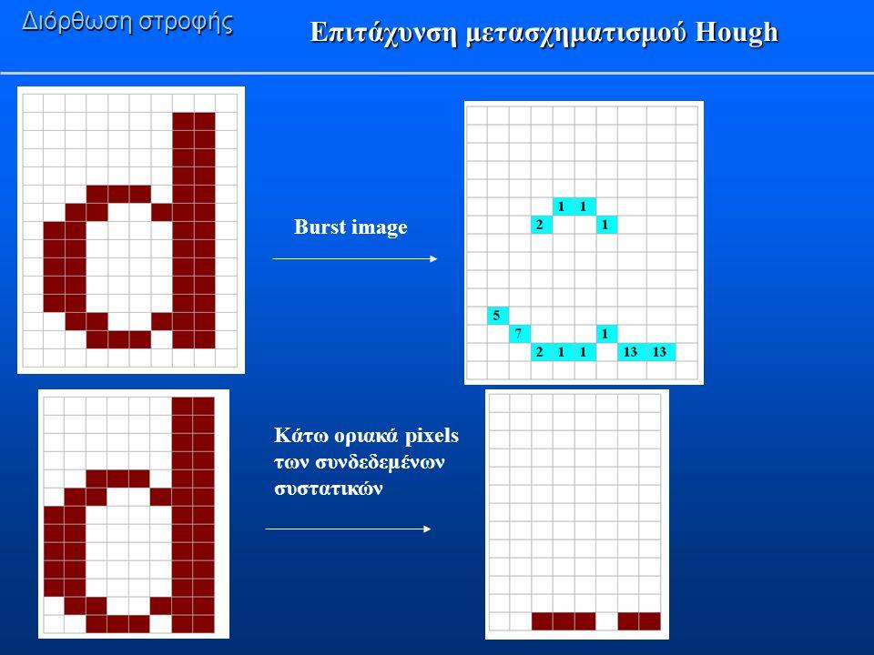 Επιτάχυνση μετασχηματισμού Hough Διόρθωση στροφής Burst image Κάτω οριακά pixels των συνδεδεμένων συστατικών