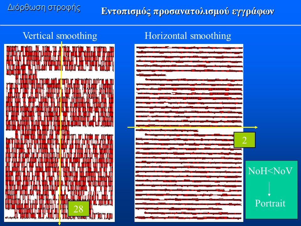 Εντοπισμός προσανατολισμού εγγράφων Διόρθωση στροφής Horizontal smoothingVertical smoothing 28 2 NoH<NoV Portrait