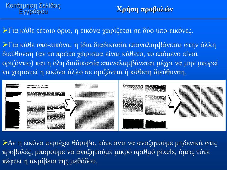 Χρήση προβολών Κατάτμηση Σελίδας Εγγράφου  Για κάθε τέτοιο όριο, η εικόνα χωρίζεται σε δύο υπο-εικόνες.  Για κάθε υπο-εικόνα, η ίδια διαδικασία επαν