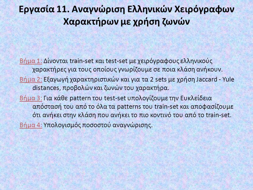 Εργασία 11. Αναγνώριση Ελληνικών Χειρόγραφων Χαρακτήρων με χρήση ζωνών Βήμα 1: Δίνονται train-set και test-set με χειρόγραφους ελληνικούς χαρακτήρες γ