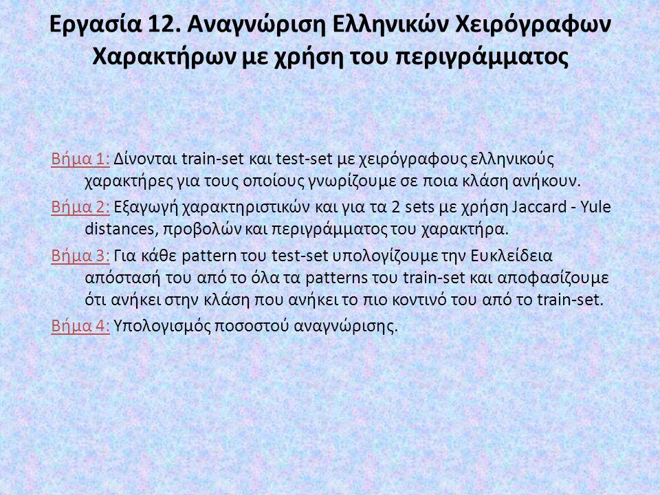 Εργασία 12. Αναγνώριση Ελληνικών Χειρόγραφων Χαρακτήρων με χρήση του περιγράμματος Βήμα 1: Δίνονται train-set και test-set με χειρόγραφους ελληνικούς