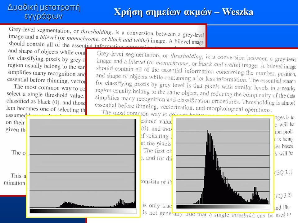 εγγράφων Χρήση σημείων ακμών – Weszka