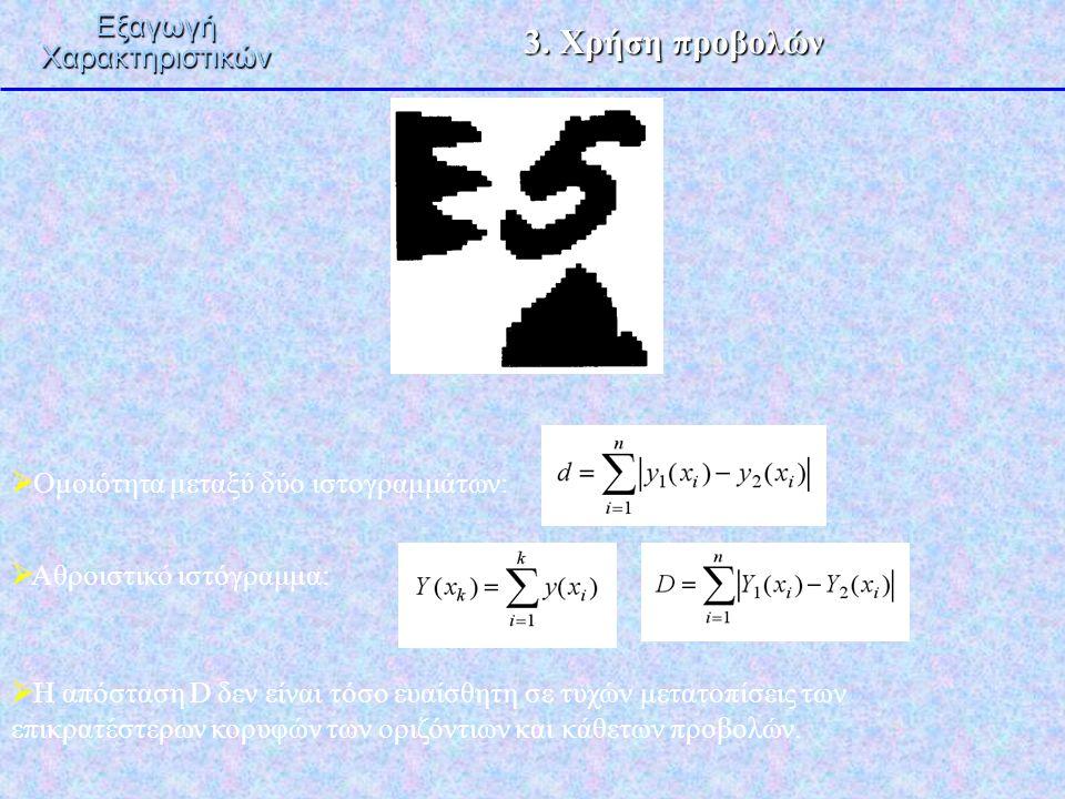 3. Χρήση προβολών ΕξαγωγήΧαρακτηριστικών  Ομοιότητα μεταξύ δύο ιστογραμμάτων:  Αθροιστικό ιστόγραμμα:  Η απόσταση D δεν είναι τόσο ευαίσθητη σε τυχ