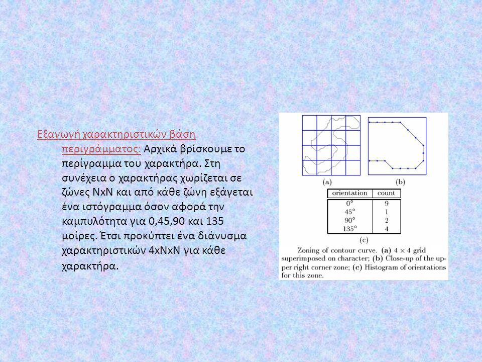 Εξαγωγή χαρακτηριστικών βάση περιγράμματος: Αρχικά βρίσκουμε το περίγραμμα του χαρακτήρα. Στη συνέχεια o χαρακτήρας χωρίζεται σε ζώνες NxN και από κάθ