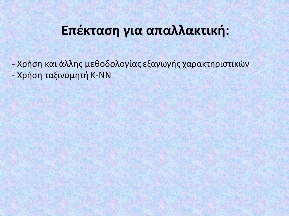 - Χρήση και άλλης μεθοδολογίας εξαγωγής χαρακτηριστικών - Χρήση ταξινομητή K-NN Επέκταση για απαλλακτική:
