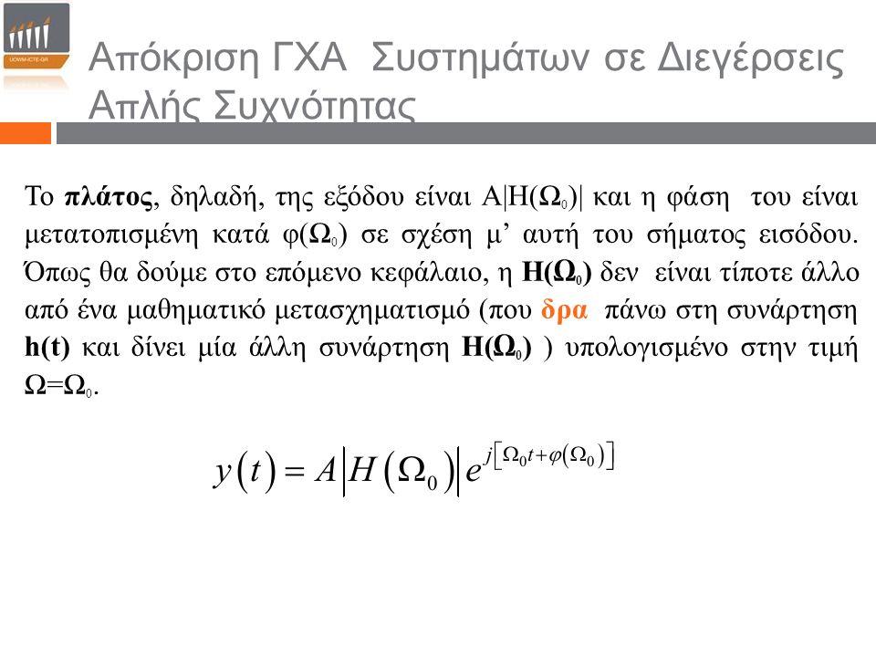 Απόκριση ΓΧΑ Συστημάτων σε Διεγέρσεις Απλής Συχνότητας Το πλάτος, δηλαδή, της εξόδου είναι Α|Η(Ω 0 )| και η φάση του είναι μετατοπισμένη κατά φ(Ω 0 ) σε σχέση μ' αυτή του σήματος εισόδου.