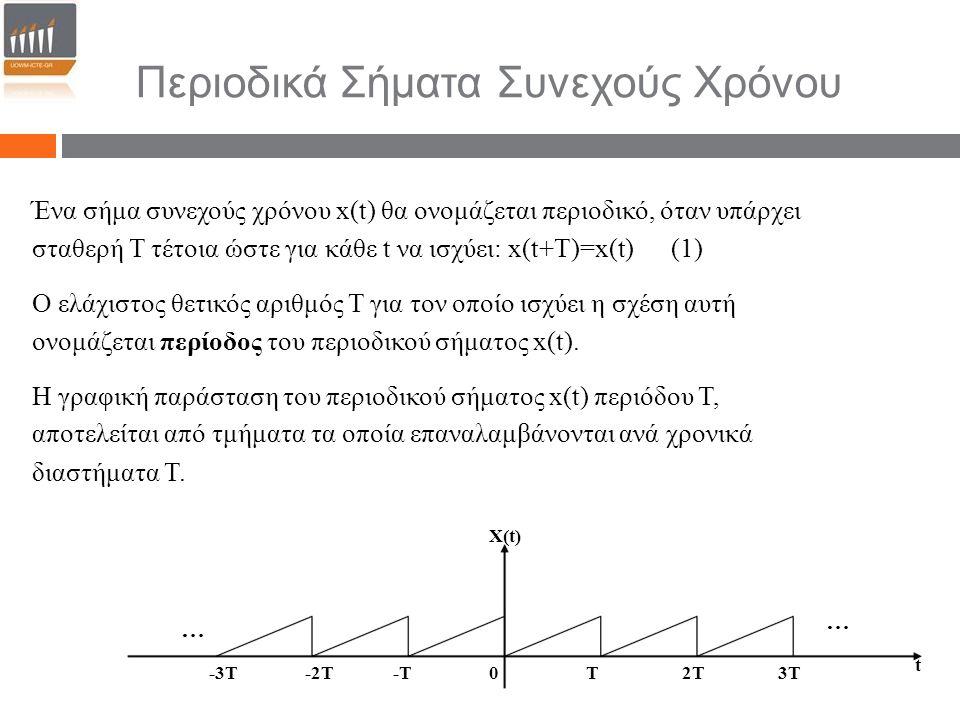 Περιοδικά Σήματα Συνεχούς Χρόνου Ένα σήμα συνεχούς χρόνου x(t) θα ονομάζεται περιοδικό, όταν υπάρχει σταθερή Τ τέτοια ώστε για κάθε t να ισχύει: x(t+T)=x(t) (1) Ο ελάχιστος θετικός αριθμός Τ για τον οποίο ισχύει η σχέση αυτή ονομάζεται περίοδος του περιοδικού σήματος x(t).