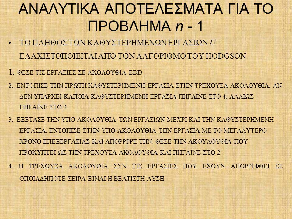 ΑΝΑΛΥΤΙΚΑ ΑΠΟΤΕΛΕΣΜΑΤΑ ΓΙΑ ΤΟ ΠΡΟΒΛΗΜΑ n - 1 ΤΟ ΠΛΗΘΟΣ ΤΩΝ ΚΑΘΥΣΤΕΡΗΜΕΝΩΝ ΕΡΓΑΣΙΩΝ U ΕΛΑΧΙΣΤΟΠΟΙΕΙΤΑΙ ΑΠΌ ΤΟΝ ΑΛΓΟΡΙΘΜΟ ΤΟΥ HODGSON 1. ΘΕΣΕ ΤΙΣ ΕΡΓΑΣΙ