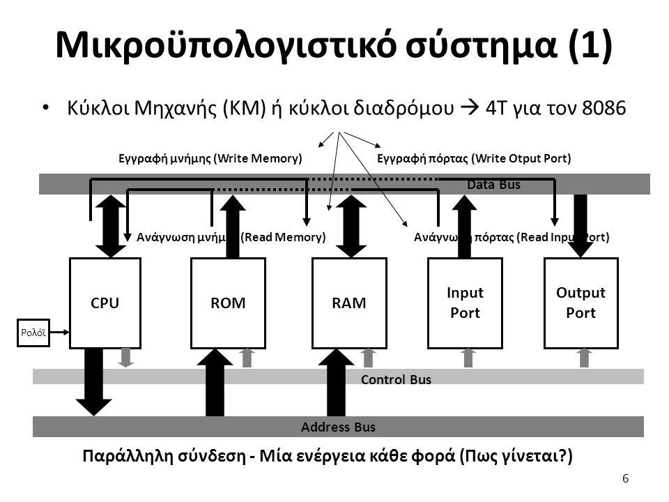 Μικροϋπολογιστικό σύστημα (1) Κύκλοι Μηχανής (ΚΜ) ή κύκλοι διαδρόμου  4Τ για τον 8086 6 Παράλληλη σύνδεση - Μία ενέργεια κάθε φορά (Πως γίνεται?) Con