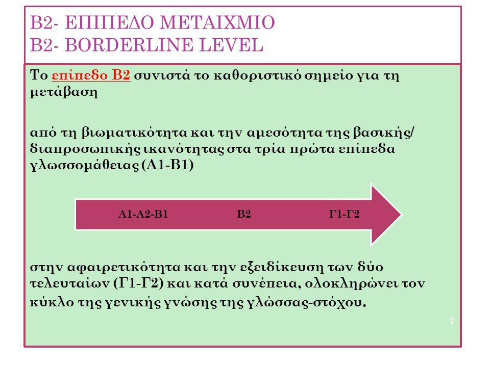 B2- EΠΙΠΕΔΟ ΜΕΤΑΙΧΜΙΟ Β2- ΒΟRDERLINE LEVEL Το επίπεδο Β2 συνιστά το καθοριστικό σημείο για τη μετάβαση από τη βιωματικότητα και την αμεσότητα της βασι
