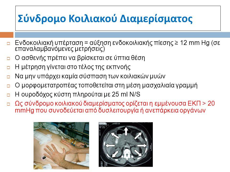 Σύνδρομο Κοιλιακού Διαμερίσματος  Ενδοκοιλιακή υπέρταση = αύξηση ενδοκοιλιακής πίεσης ≥ 12 mm Hg (σε επαναλαμβανόμενες μετρήσεις)  Ο ασθενής πρέπει
