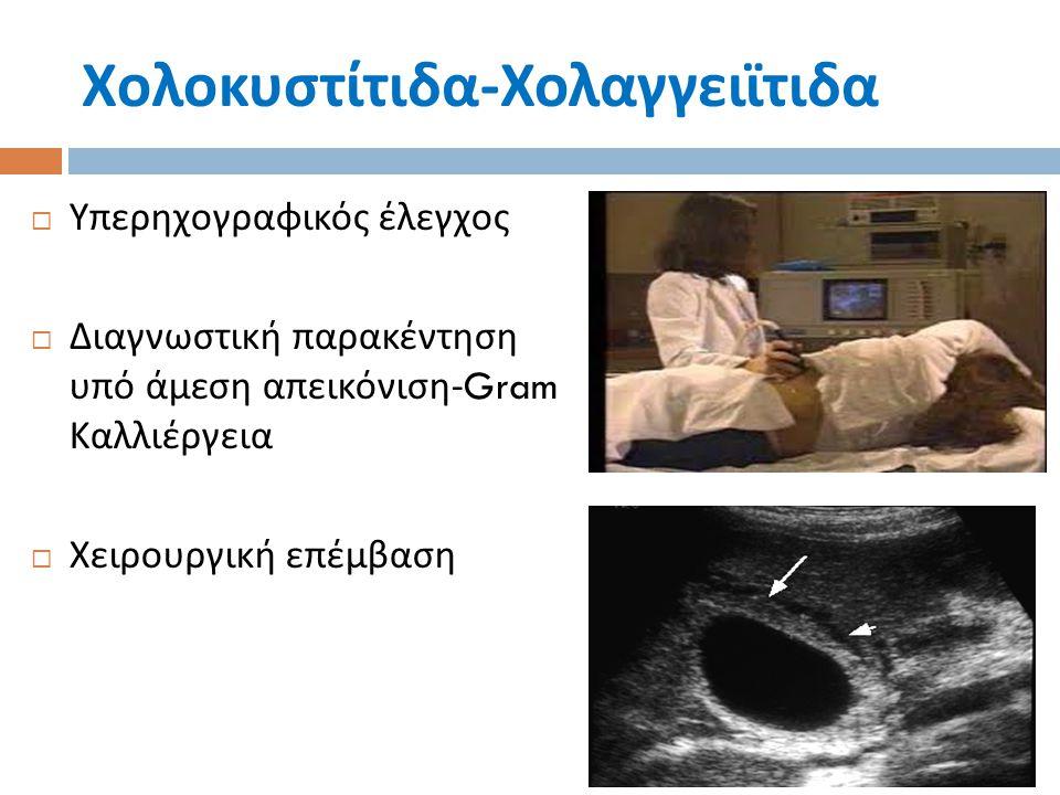 Χολοκυστίτιδα - Χολαγγειϊτιδα  Υπερηχογραφικός έλεγχος  Διαγνωστική παρακέντηση υπό άμεση απεικόνιση -Gram Καλλιέργεια  Χειρουργική επέμβαση