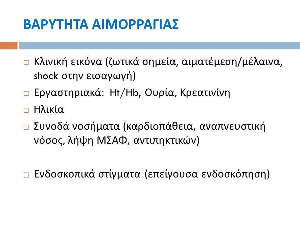 ΒΑΡΥΤΗΤΑ ΑΙΜΟΡΡΑΓΙΑΣ  Κλινική εικόνα ( ζωτικά σημεία, αιματέμεση / μέλαινα, shock στην εισαγωγή )  Εργαστηριακά : Ht/Hb, Ουρία, Κρεατινίνη  H λικία