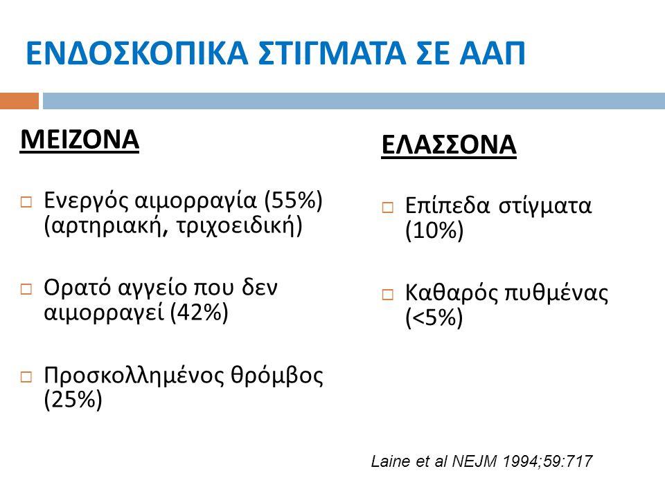 ΕΝΔΟΣΚΟΠΙΚΑ ΣΤΙΓΜΑΤΑ ΣΕ ΑΑΠ ΜΕΙΖΟΝΑ  Ενεργός αιμορραγία (55%) ( αρτηριακή, τριχοειδική )  Ορατό αγγείο που δεν αιμορραγεί (42%)  Προσκολλημένος θρό