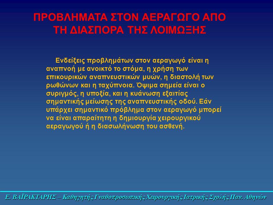 Ε. ΒΑΪΡΑΚΤΑΡΗΣ – Καθηγητής Γναθοπροσωπικής Χειρουργικής Ιατρικής Σχολής Παν. Αθηνών Ενδείξεις προβλημάτων στον αεραγωγό είναι η αναπνοή με ανοικτό το