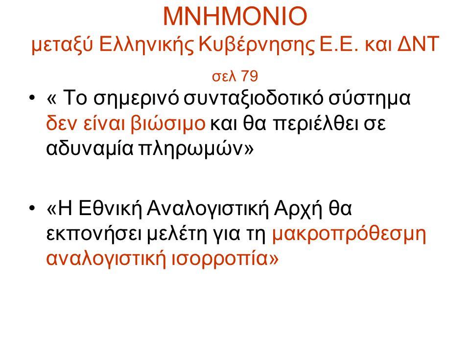 ΜΝΗΜΟΝΙΟ μεταξύ Ελληνικής Κυβέρνησης Ε.Ε. και ΔΝΤ σελ 79 « Το σημερινό συνταξιοδοτικό σύστημα δεν είναι βιώσιμο και θα περιέλθει σε αδυναμία πληρωμών»