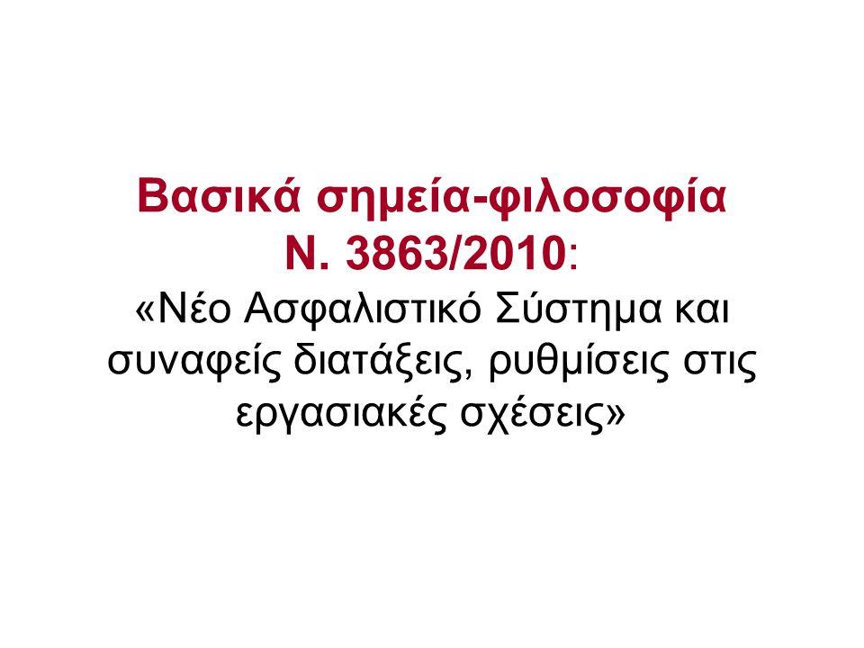 Βασικά σημεία-φιλοσοφία Ν. 3863/2010: «Νέο Ασφαλιστικό Σύστημα και συναφείς διατάξεις, ρυθμίσεις στις εργασιακές σχέσεις»