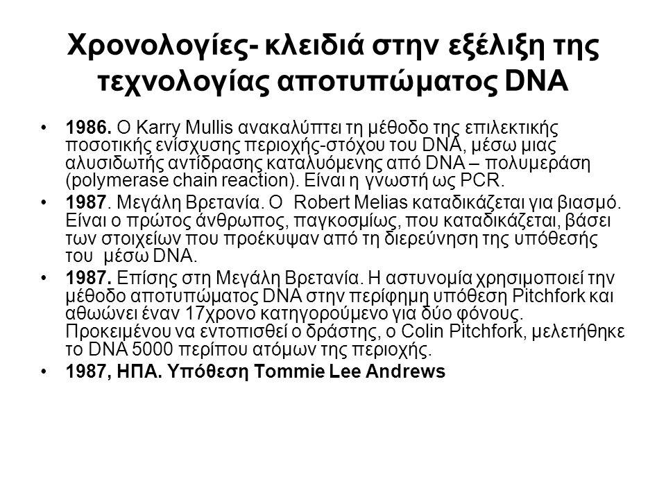 Χρονολογίες- κλειδιά στην εξέλιξη της τεχνολογίας αποτυπώματος DNA 1986. Ο Karry Mullis ανακαλύπτει τη μέθοδο της επιλεκτικής ποσοτικής ενίσχυσης περι