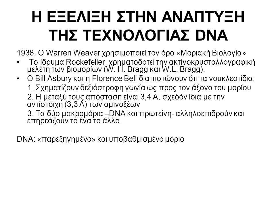 Η ΕΞΕΛΙΞΗ ΣΤΗΝ ΑΝΑΠΤΥΞΗ ΤΗΣ ΤΕΧΝΟΛΟΓΙΑΣ DNA 1938. Ο Warren Weaver χρησιμοποιεί τον όρο «Μοριακή Βιολογία» Το ίδρυμα Rockefeller χρηματοδοτεί την ακτίν