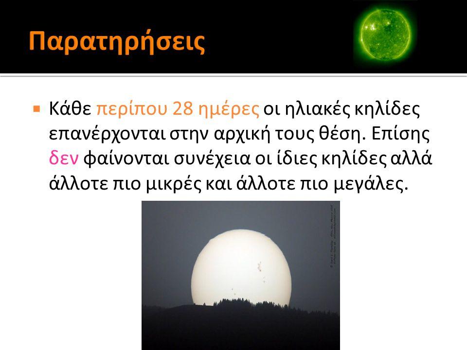  Κάθε περίπου 28 ημέρες οι ηλιακές κηλίδες επανέρχονται στην αρχική τους θέση.