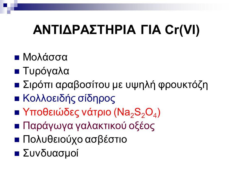 ΑΝΤΙΔΡΑΣΤΗΡΙΑ ΓΙΑ Cr(VI) Μολάσσα Τυρόγαλα Σιρόπι αραβοσίτου με υψηλή φρουκτόζη Κολλοειδής σίδηρος Υποθειώδες νάτριο (Na 2 S 2 O 4 ) Παράγωγα γαλακτικο