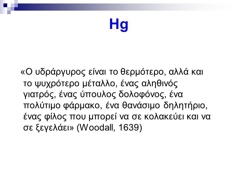 Hg «Ο υδράργυρος είναι το θερμότερο, αλλά και το ψυχρότερο μέταλλο, ένας αληθινός γιατρός, ένας ύπουλος δολοφόνος, ένα πολύτιμο φάρμακο, ένα θανάσιμο