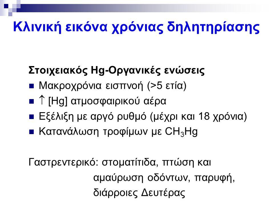 Κλινική εικόνα χρόνιας δηλητηρίασης Στοιχειακός Hg-Οργανικές ενώσεις Μακροχρόνια εισπνοή (>5 ετία)  [Hg] ατμοσφαιρικού αέρα Εξέλιξη με αργό ρυθμό (μέ