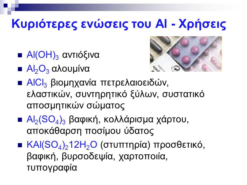 Κυριότερες ενώσεις του Al - Χρήσεις Al(OH) 3 αντιόξινα Al 2 O 3 αλουμίνα AlCl 3 βιομηχανία πετρελαιοειδών, ελαστικών, συντηρητικό ξύλων, συστατικό απο