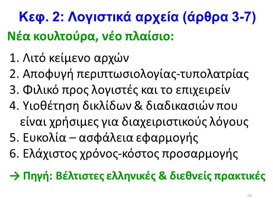 Κεφ. 2: Λογιστικά αρχεία (άρθρα 3-7) Νέα κουλτούρα, νέο πλαίσιο: 1. Λιτό κείμενο αρχών 2. Αποφυγή περιπτωσιολογίας-τυπολατρίας 3. Φιλικό προς λογιστές
