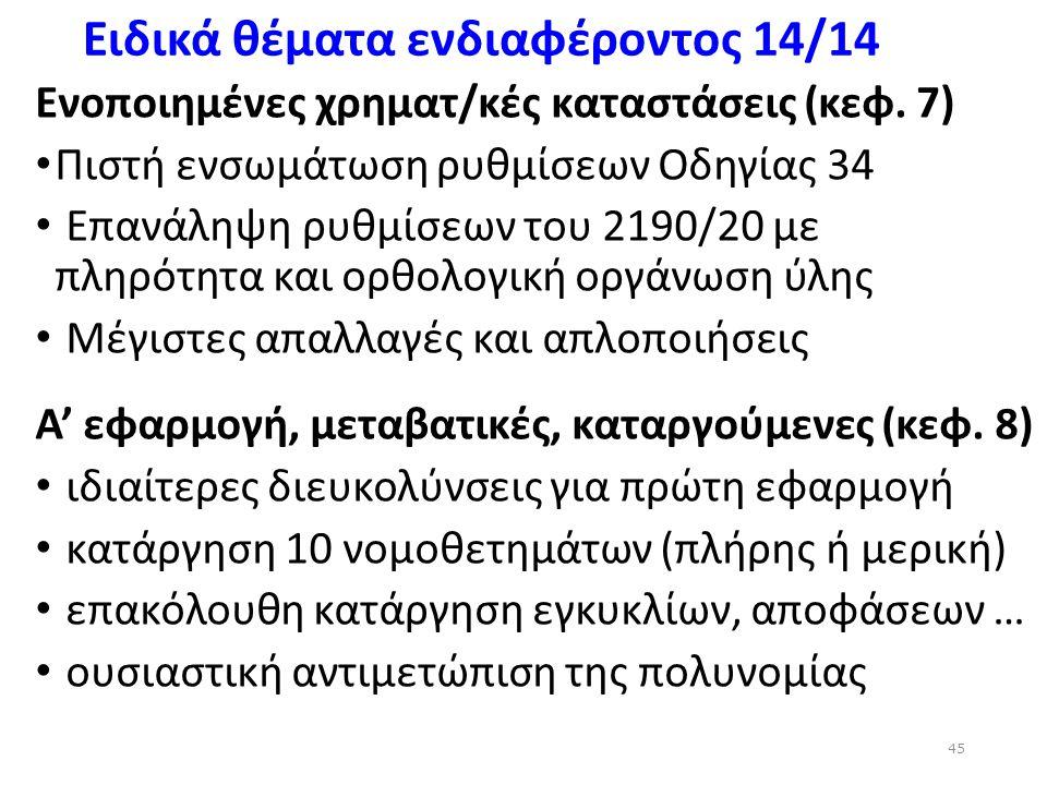 Ειδικά θέματα ενδιαφέροντος 14/14 Ενοποιημένες χρηματ/κές καταστάσεις (κεφ. 7) Πιστή ενσωμάτωση ρυθμίσεων Οδηγίας 34 Επανάληψη ρυθμίσεων του 2190/20 μ