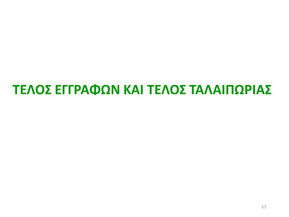 ΤΕΛΟΣ ΕΓΓΡΑΦΩΝ ΚΑΙ ΤΕΛΟΣ ΤΑΛΑΙΠΩΡΙΑΣ 65