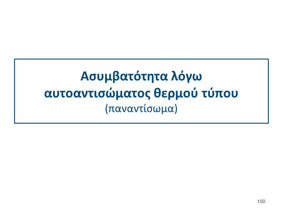 Συμπέρασμα Ασυμβατότητα οφειλόμενη σε αλλοαντίσωμα λόγω προηγηθείσης μετάγγισης. Τυχαία συνύπαρξη θετικής αμέσου Coombs μη εμπλεκόμενης στην ασυμβατότ
