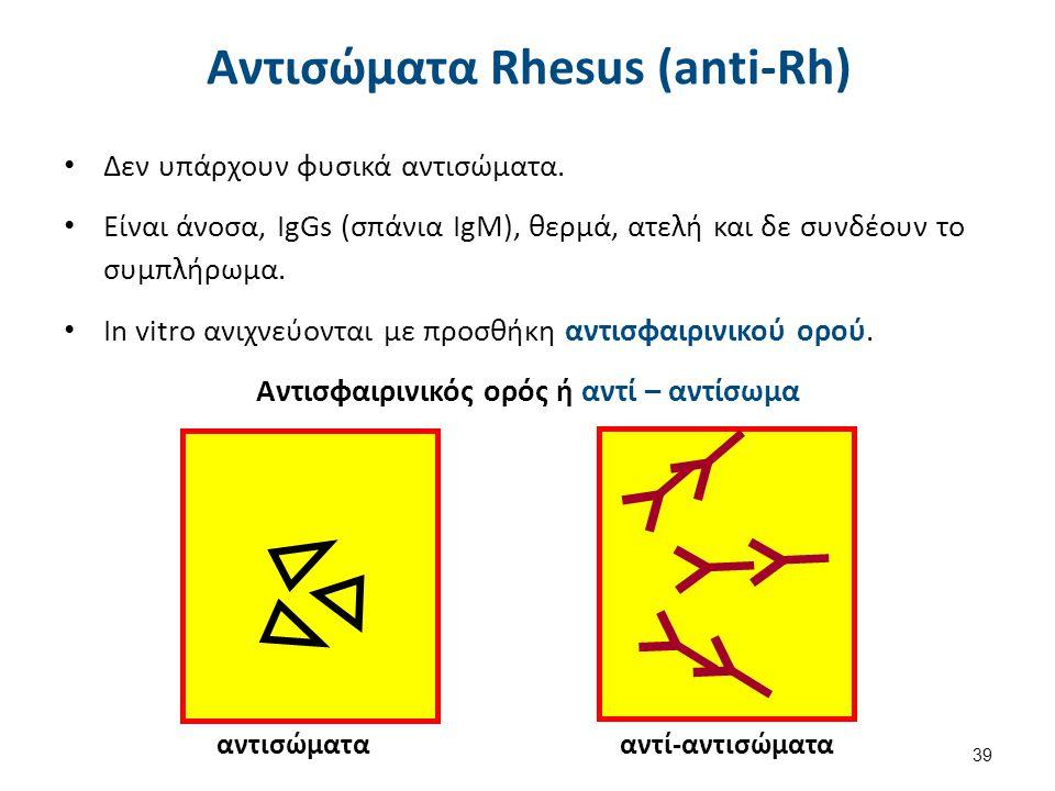 """Αντισώματα του συστήματος ΑΒΟ και Rh. Διαφορές; Tα Αντισώματα (γενικά) Τα Abs του συστήματος Rh είναι: Άνοσα. IgGs. Θερμά. Ατελή. 38 """"Antibody svg"""", α"""