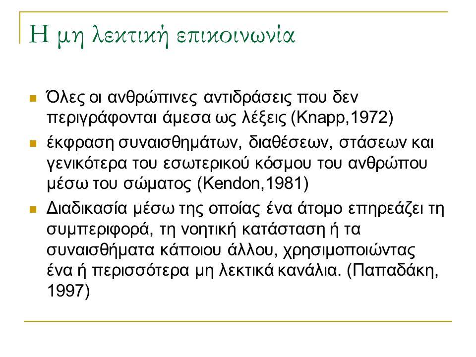 Η μη λεκτική επικοινωνία Όλες οι ανθρώπινες αντιδράσεις που δεν περιγράφονται άμεσα ως λέξεις (Knapp,1972) έκφραση συναισθημάτων, διαθέσεων, στάσεων και γενικότερα του εσωτερικού κόσμου του ανθρώπου μέσω του σώματος (Kendon,1981) Διαδικασία μέσω της οποίας ένα άτομο επηρεάζει τη συμπεριφορά, τη νοητική κατάσταση ή τα συναισθήματα κάποιου άλλου, χρησιμοποιώντας ένα ή περισσότερα μη λεκτικά κανάλια.
