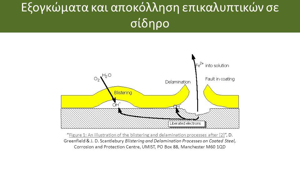 """Εξογκώματα και αποκόλληση επικαλυπτικών σε σίδηρο """"Figure 1: An illustration of the blistering and delamination processes after [2]"""", D. Greenfield &"""