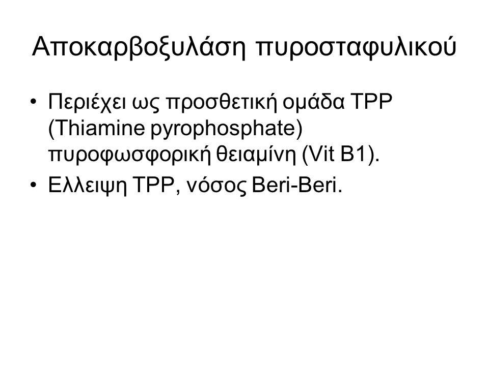 Αποκαρβοξυλάση πυροσταφυλικού Περιέχει ως προσθετική ομάδα TPP (Thiamine pyrophosphate) πυροφωσφορική θειαμίνη (Vit Β1). Eλλειψη TPP, νόσος Beri-Beri.