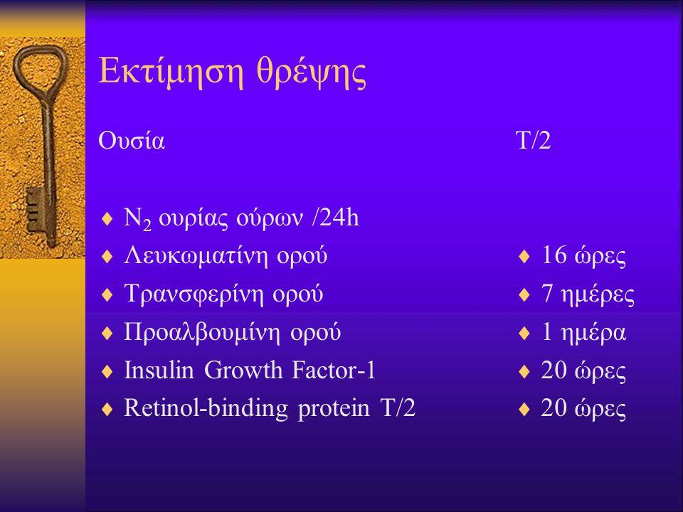 Εκτίμηση θρέψης Ουσία  Ν 2 ουρίας ούρων /24h  Λευκωματίνη ορού  Τρανσφερίνη ορού  Προαλβουμίνη ορού  Insulin Growth Factor-1  Retinol-binding protein Τ/2 Τ/2  16 ώρες  7 ημέρες  1 ημέρα  20 ώρες