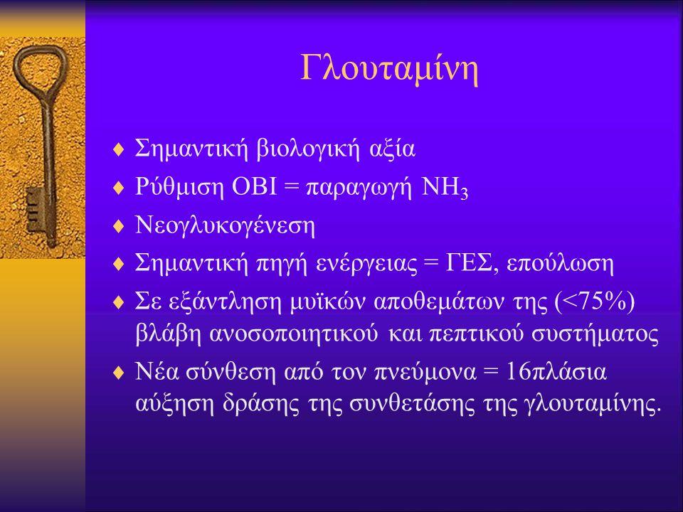 Γλουταμίνη  Σημαντική βιολογική αξία  Ρύθμιση ΟΒΙ = παραγωγή ΝΗ 3  Νεογλυκογένεση  Σημαντική πηγή ενέργειας = ΓΕΣ, επούλωση  Σε εξάντληση μυϊκών αποθεμάτων της (<75%) βλάβη ανοσοποιητικού και πεπτικού συστήματος  Νέα σύνθεση από τον πνεύμονα = 16πλάσια αύξηση δράσης της συνθετάσης της γλουταμίνης.